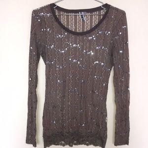 BKE Light Brown Lace LongSleeve SeeThrough Shirt